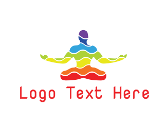 Therapy - Colorful Yoga Wave logo design