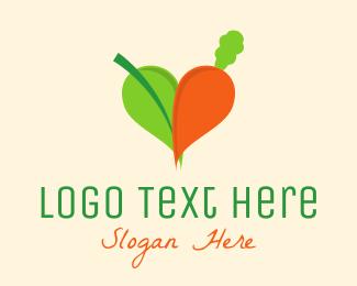 Marketplace - Organic Carrot Heart logo design