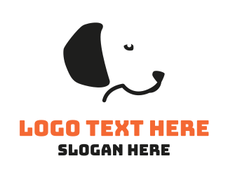 Dog Sitting - Black & White Dog  logo design