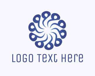 Abstract Blue Flower Swirl Logo