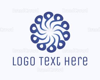 Rotate - Abstract Blue Flower Swirl logo design