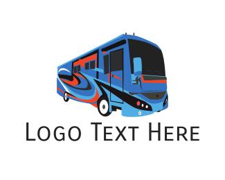 Accommodation - Tourist Bus logo design