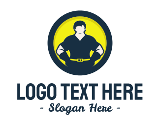 Construction - Strong Man Circle logo design