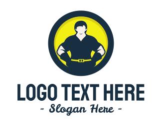 Concreter - Strong Man Circle logo design