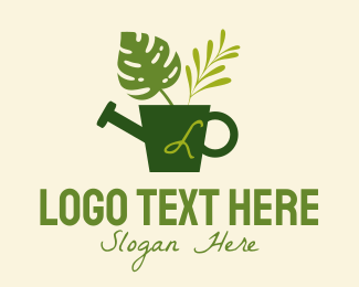 Watering - Plant Watering Can Lettermark logo design
