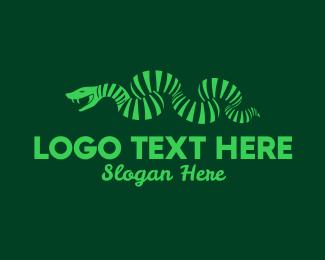 Stripes - Green Stripe Snake logo design