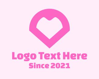 Location App - Pink Heart Locator logo design