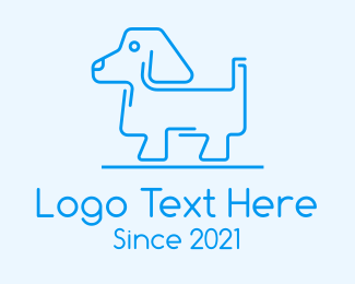 Animal Training - Blue Dog Line Art logo design