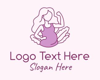 Strong - Strong Pregnant Mother  logo design