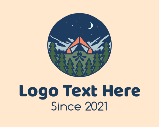 Starry Night - Forest Night Camp logo design