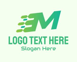 Speed Motion - Green Speed Motion Letter M logo design