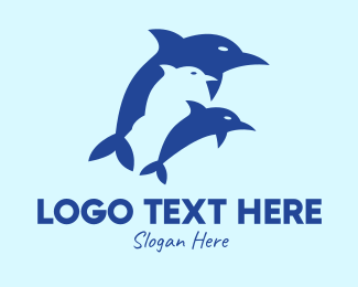 Waterpark - Blue Dolphins logo design