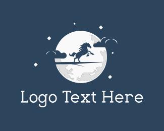Horse - Moon Horse logo design