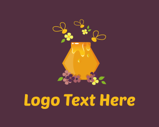 Hive - Honey Bee logo design