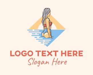 Summer Party - Woman Swimsuit Beach  logo design
