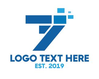 Data Transfer - Seven Data logo design