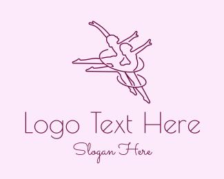 Ballet - Women Gymnast Line Art logo design