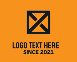 Crate - Black Crate Letter X logo design