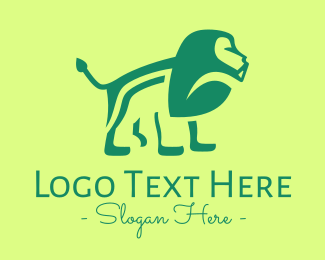 Jungle Animal - Green Jungle Lion logo design