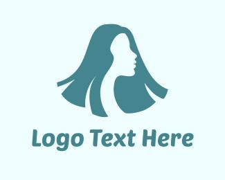 Hair Salon - Long Hair Woman logo design