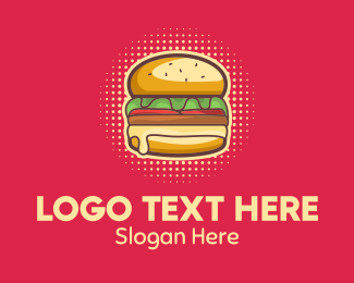 Halftone - Pop Art Burger  logo design