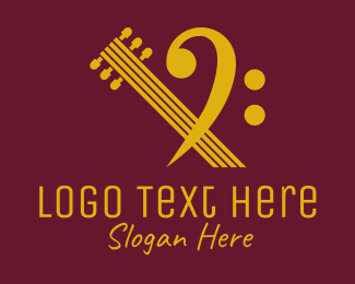 String Instrument - Bass Clef Music School logo design