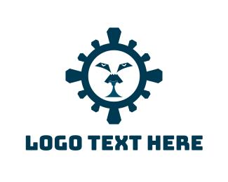 Blue Tiger - Blue Lion Face logo design
