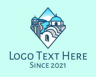Classical Building - Santorini Greece Church logo design