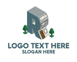 Blue Print - Modern Building Letter R logo design