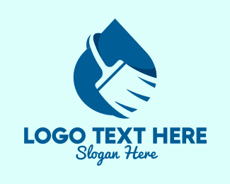 Negative Space - Cleaning Service Broom logo design