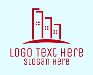 High Rise - Red High Rise Buildings logo design