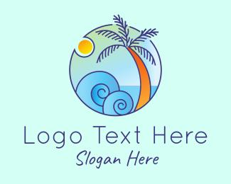 Coconut Tree - Palm Tree Waves logo design