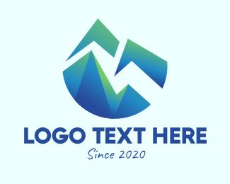 Mountain Top - Abstract Mountain Peaks logo design