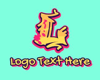 Graffiti - Graffiti Art Letter L logo design