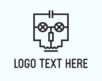 Cranium - Circuit Skull logo design