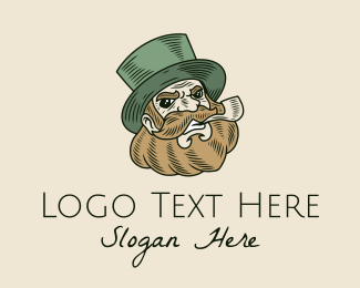 Saint Patrick - Smoking Pipe Leprechaun  logo design
