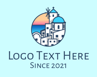 Classical Building - Santorini Greece Tourist Destination logo design