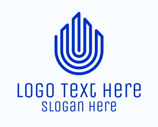 Biometrics - Blue Tower Fingerprint logo design