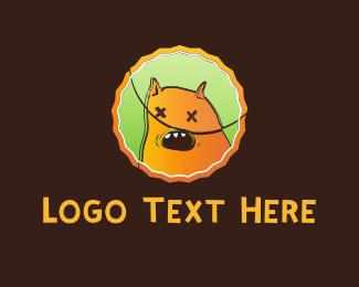 Puppy - Orange Monster Cartoon logo design