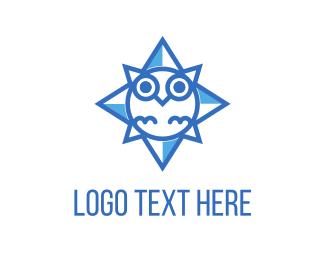 Blue And Brown - Blue Owl Star logo design
