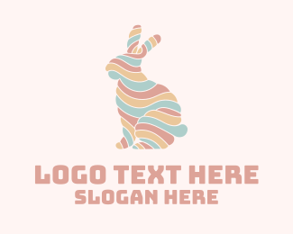 Easter Egg Hunting - Colorful Rabbit Mallow logo design