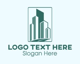 Town - Geometric Buildings Road logo design