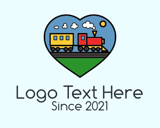 Toy Train - Heart Toy Train  logo design