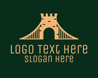 Brick - Golden Brick Bridge logo design