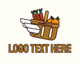Picnic - Wing Grocery Basket logo design