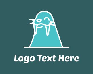 Flipper - Walrus Cartoon logo design