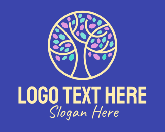 Nurturing - Tree Branch Petals logo design