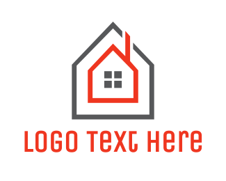 Frame - Grey Red Frame House logo design