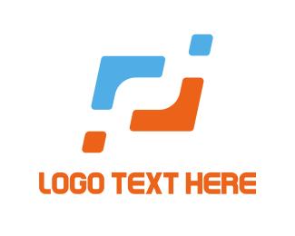 Management - Orange & Blue Corners logo design