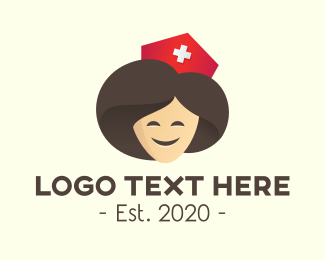 Joyful - Smiling Lady Hospital Nurse logo design